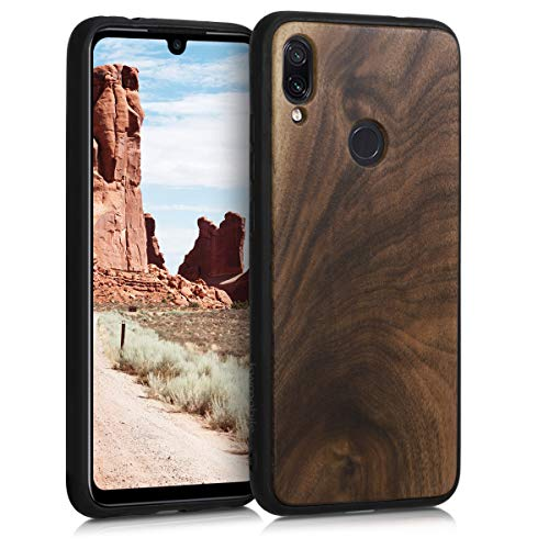 kwmobile Wooden Cover for Xiaomi Redmi Note 7 / Note 7 Pro - Hard Case with TPU Bumper - Walnut, Dark Brown