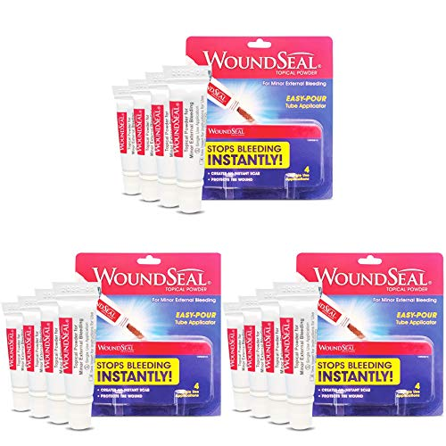 WoundSeal Powder 4 Each Pack of 3  Wound Care First Aid for Cuts Scrapes and Abrasions  Stops Bleeding in Seconds Without Stitches or Bandages  Safe and Effective for People of All Ages and Pets