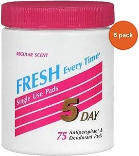 5 DAY Anti-Perspirant Deodorant Pads Regular Scent 75 Each (Pack of 5)