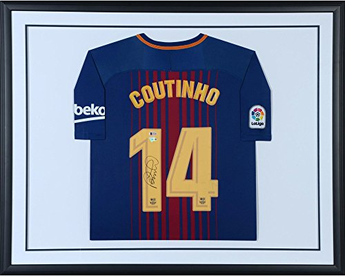 Philippe Coutinho Barcelona Standard Framed Autographed Nike Home Jersey - Autographed Soccer Jerseys