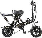 Bicicleta Eléctrica Bicicletas eléctricas para adultos, bicicleta eléctrica plegable de neumáticos de 12 pulgadas con batería de litio de 8/10 / 12.5Ah, estilo ebike con diseño único, 3 modos de traba