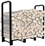 Artibear Firewood Rack Stand 4ft Heavy Duty Logs Holder for Outdoor Indoor Fireplace Metal Wood Pile Storage Stacker Organzier, Matte Black…