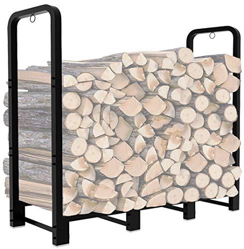 Artibear Firewood Rack Stand 4ft Heavy Duty Logs Holder for Outdoor Indoor Fireplace Metal Wood Pile Storage Stacker Organzier, Matte Black