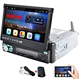 CAMECHO Android Car Stereo 1Din Radio with Quad-Core 7 Inch Capacitive Retractable & Flip Out Touch Screen Support Bluetooth WiFi GPS iOS/Android Phone Link with USB/SD/AM/FM/RDS Radio+Remote Control