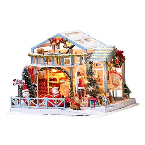 Colcolo DIY 3D Miniature Dollhouse Kit, Christmas Dolls House with Furniture Light, Kids Educational Toys Gifts