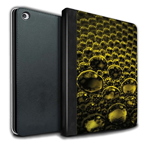 Stuff4 PU Lederen Boek/Cover Case voor Apple iPad Air 2 tabletten/Geel Design/Bubbles/Droplets Collection