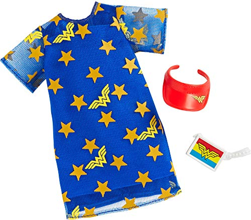 Barbie Clothes: Wonder Woman Outfit Doll, Blue Star Dress, Visor and Clutch, Gift for 3 to 8 Year Olds
