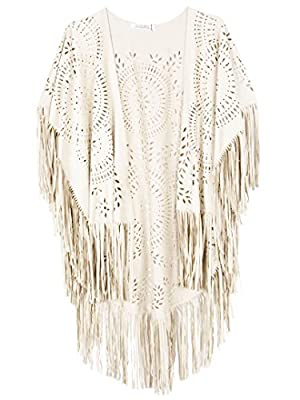 CHOiES record your inspired fashion Women's Suedette Cut Out Asymmetric Fringed Cape Kimono Blouse with Tassel White