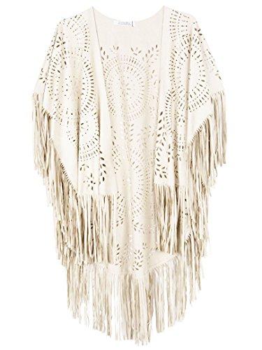 PERSUN Women's Faux Suede Kimono Cape Fringed Asymmetric Cover up Shawl White