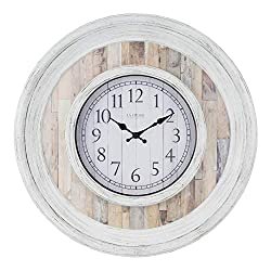 La Crosse Technology 404-3051B 20 Inch Weathered Wood Quartz Wall Clock, White