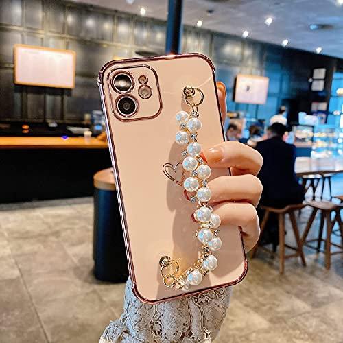 Hnzxy Glitterata Perla Cinturino da Polso per Custodia per iPhone 11 Glitter TPU Morbido in Silicone Antiurto Protettiva in TPU Paraurti Cover Custodia per iPhone 11,Rose