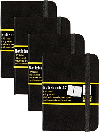 4 Stück Idena 209283 - Notizbuch DIN A7, 192 Seiten, 80 g/m², kariert, schwarz