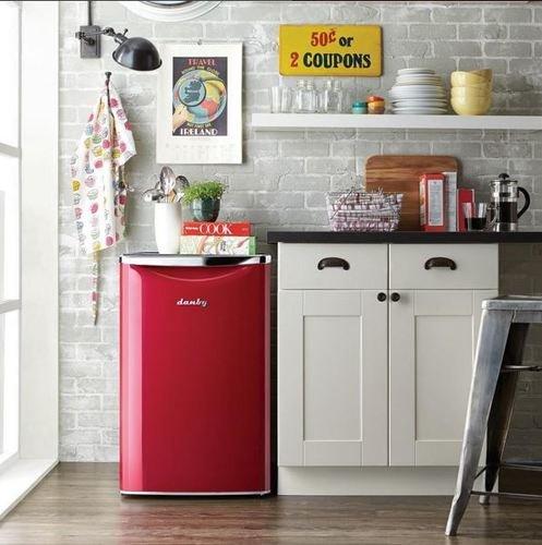 Danby DAR044A6LDB 4.4 Cu.Ft. Retro Mini Fridge, Compact Refrigerator For Bedroom, Living Room, Bar, Dorm, Kitchen, Office, E-Star In Red