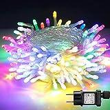 LED Lichterkette, BIGHOUSE 100 LEDs 10M Weihnachtsbeleuchtung Außen, IP44 Wasserdichte für Weihnachtsbaum, Hochzeit, Terrasse, Innen Außen Dekoration (Bunt)