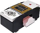 NXACETN Mezclador automático de cartas de póquer, con lanzador de cartas de póquer, con batería, 2 barras, para juegos de cartas en casa, fiesta, club, puente, póquer, color negro