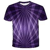 Qier Camisetas Hombre Camiseta Holgada Informal De Manga Corta con Gráfico 3D, Diseño De Haz Morado, Morado, XL