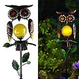 N/AB Gartendeko Eule Solar Leuchte, wasserdichte Gartenfigur Ornament für draußen Gartendeko, Metall Solar Wetterfest LED Solarlampe Stake für Innen Außen & Garten (Eule A)