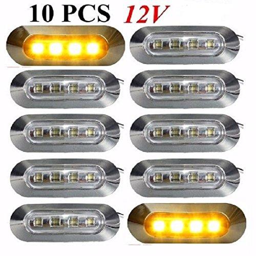 Lot de 10 feux de gabarit latéraux à 4 LED 12 V orange ambré avec lunette transparente chromée pour camion, voiture, caravane, bus, van, usage extérieur/intérieur