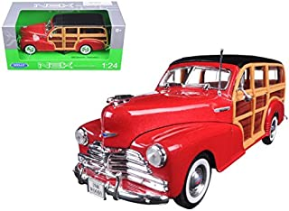 Maisto 1948 Chevrolet Woody Wagon Fleetmaster Red 1/24 Model Car by Welly
