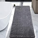 LOCHAS Luxury Bathroom Rug Grey Bath Mat Runner 24 x 60 Inch, Shaggy Washable Non Slip Bath Rugs for Bathroom Shower, Soft Plush Chenille Absorbent Carpets Mats, Grey