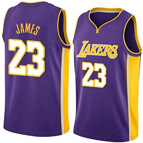 Camiseta De Baloncesto Para Hombre, Camiseta De Baloncesto Lakers # 23 Lebron James, VersióN Para FanáTicos De La Camiseta Sin Mangas Con Chaleco Deportivo De Secado RáPido De Red (S-XXL)