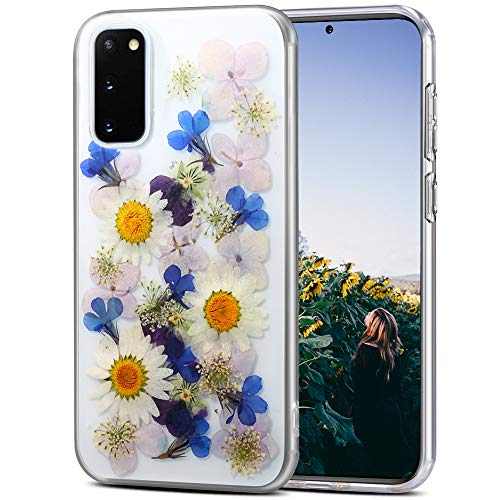 AHTONG Galaxy S20 Plus Flower Case, Girls Floral Design Pressed Dry Real Flowers Case [Support Wireless Charging] Soft Clear Flexible Rubber Bumper Cover for Galaxy S20 Plus 5G,Sunflower Blue