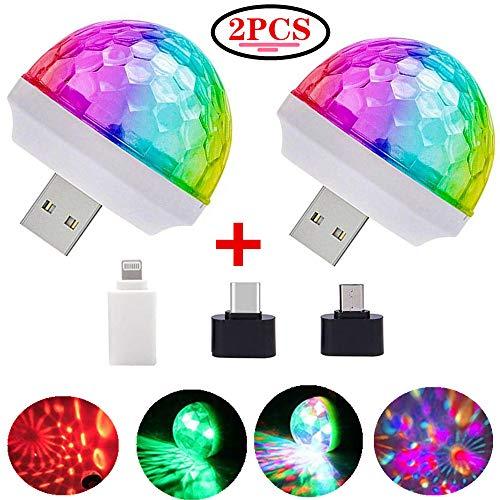 USB Mini Disco Lights, Stage DJ Lights, Magic Ball Lights, Stage Lights, USB Port Power, Birthday Party Christmas Family KTV Wedding Show bar car Interior Decoration Good Choice (2-pcs)