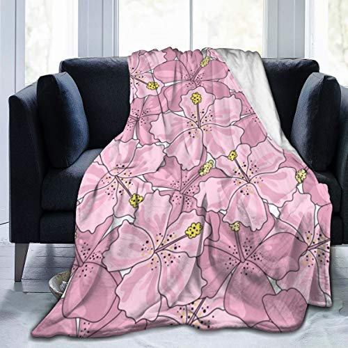 Qing_II Manta de forro polar con diseño de flores tropicales, de viaje, sin costuras, de papel de color para franela, para invierno, suave, cálida, manta de 50 x 65 pulgadas para cama, sofá, silla u oficina