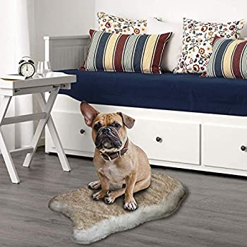 Faux Fur Pet Bed Mat Thick Luxury Fur Throw Rug Dog Cat Bed White Fur with Brown Tips Super Thick Padded with Removable & Washable Cover Winter Warm Mattress for Dogs and Cats Size L/XL