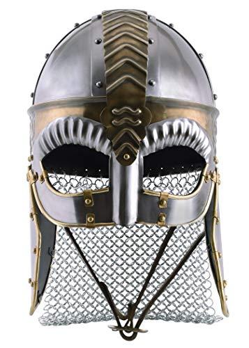 Battle-Merchant Brillenhelm Beowulf mit Wangenklappen und Kettenbrünne mit verstellbarem Lederinlay - Wikingerhelm aus Stahl für Erwachsene