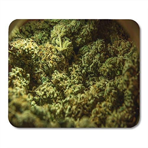 Yanteng Tappetini per Mouse Tappetini per Mouse Green Weed Cannabis Marijuana Sativa Heads Medical Bud License Farm Tappetino per Mouse per Notebook