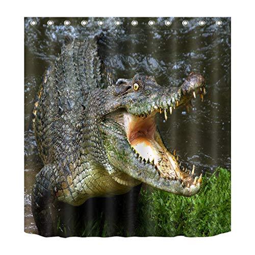 ZHANGSHUQI Heftiges Krokodil-Duschvorhang-Badezimmer Langlebiger Stoff Mehltau Badezimmerzubehör Kreativ mit 12 Haken 180X180CM