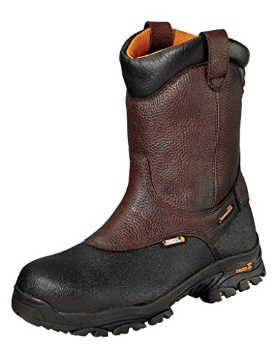 Thorogood Men's 804-4810 Crossover Series Waterproof 8' Black Armor Coated, Pull-On Wellington Composite Safety Toe Boot, Brown - 10.5 W US