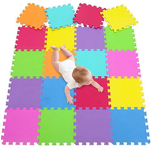 meiqicool Tappeto Puzzle per Bambini | in Soffice Schiuma Eva | Tappetino Gioco per la Cameretta | a Quadri 3009G20