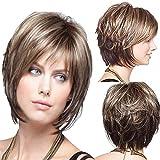 Straight pelo rubio Color Sustitución de pelo sintético peluca corto bob pelucas para las mujeres pelucas naturales