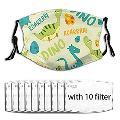 Cute Dinosaurs Reusable Activated Carbon Filter Face Shield With 10 Filter Replaceable for Men Women