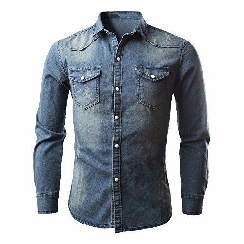 ZYS Hommes Chemise,zycShang Chemises pour Hommes Rétro Cow - Boy Chemisier Slim Mince Chemise Denim Long Maxi (Bleu, XL)