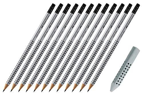 Faber-Castell GRIP 2001 - Matita HB con punta in gomma da cancellare, 12 pezzi