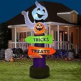 YQing 219cm Inflable Halloween de Fantasma Calabaza Decoración, Gigante hinchable Fantasma Halloween Exterior Decoracion con Trick-or-Treat Firmar y LED incorporados para patio, césped, jardín, fiesta