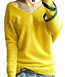 Aswinfon Pull Femme Laine Maille Col V Hiver Chaud Manches Longues Tricot Chandail Pullover Sweater Top (Jaune, S)