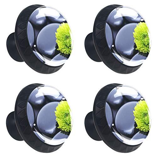 4 pomos de cristal para armario de 30 mm, tiradores de cristal para cajones de cocina, baño, Ston Zen