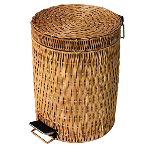 CHUTD Round Rattan Trash Can Wastebasket Wicker Woven Step Trash Can With Lid,kitchen Bathroom Household Garbage Can,large Pedal Waste Bin Dustbin A 8l