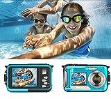 InLoveArts Cámara digital impermeable, Full HD 2.7K 48MP 16X Cámara subacuática con micrófono LED auto-temporizador,5 megapíxeles CMOS,5.0 metros completamente sellado pantalla TFT-LCD de 2.7 pulgadas
