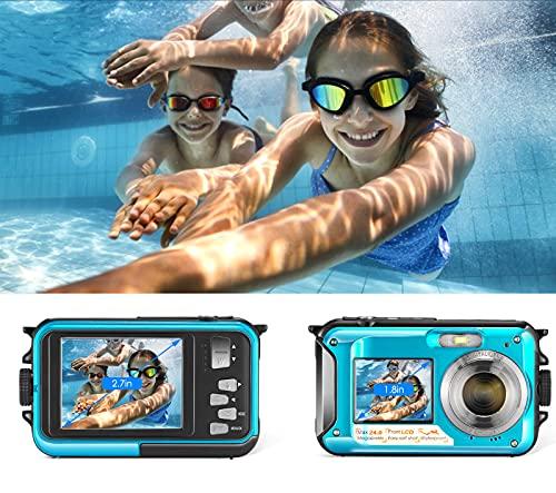 InLoveArts Fotocamera digitale impermeabile, Full HD 2,7 K, 48 MP, zoom digitale 16x, con microfono LED autoscatto, sensore CMOS da 5 megapixel, 5,0 m, completamente sigillato, schermo TFT-LCD da 2,7