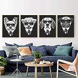 Póster con impresiones en lienzo de animales de dibujos animados nórdicos, imagen personalizada, arte de pared para chico, dormitorio, sala de estar, decoración del hogar-30x40cmx4 sin marco