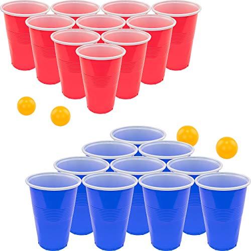 Fairly Odd Novelties Bier-Pong-Set, rote Becher und Tischtennis-Bälle, Herren, Beer Pong Complete Set, 22 Cups 4 Ping Pong Balls