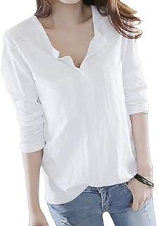 MXJナチュラル コットン スキッパーシャツ Vネック カットソー 長袖 レディース,女性用 フォーマル シ