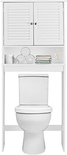 2021 Giantex 2021 outlet sale Over-The-Toilet Bathroom Storage Space Saver with 2 Door Cabinet Storage Shelf, White outlet online sale
