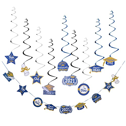 Amosfun 2021 Graduation Decorations Navy Blue and Gold Hanging Swirls Congrats Grad Banner Garland for Grad Party Decoration Supplies