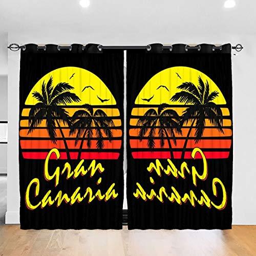 HONGYANW Cortinas Opacas para Ventana Hongyang Personalizadas con Ojales para el Sol de Gran Canaria, con Aislamiento térmico, para recámara, Sala de Estar, 52 x 72 Pulgadas, 2 Paneles